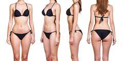 Set of beautiful woman in bikini - stock photo