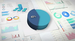 40 percent Pie chart with various economic finances graph. - stock footage