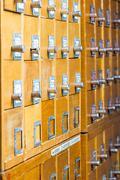 Old wooden card catalog Stock Photos