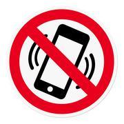 Mobile Phone prohibited Stock Illustration