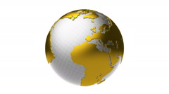 Golden silver Earth rotation, loop Stock Footage
