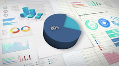80 percent Pie chart with various economic finances graph. - stock footage