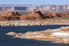 Stock Photo of Red Navajo Sandstone cliffs at Lake Powell Page Arizona USA North America