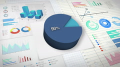 90 percent Pie chart with various economic finances graph. Stock Footage