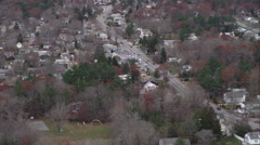 Over residential area in Taunton, Massachusetts. Shot in November 2011. Stock Footage