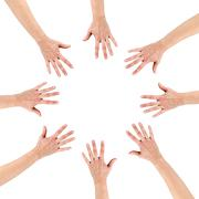 Group of eight hands at the circle together teamwork showing you - stock photo
