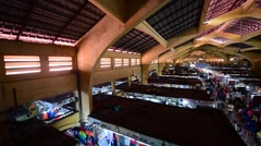 Ben Thanh market interrior high angle view Stock Footage