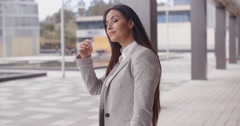 Grinning optimistic business woman Stock Footage