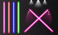 Colorful laser beam. Light swords on isolated transparent black background. Piirros