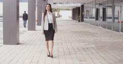 Grinning optimistic professional woman walking - stock footage
