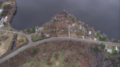 Over lake south of Norwood, Massachusetts. Shot in November 2011. Stock Footage
