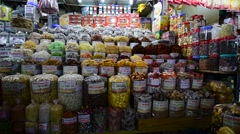 Dried fruit sells at Ben Thanh market Stock Footage