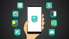 Travel application function for smart phone,mobile Stock Footage
