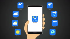 Weather application for smart phone,mobile, Weather forecast icon. - stock footage