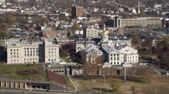 Aerial view of the New Jersey State House capitol building. Shot in 2011. Stock Footage