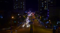 Night traffic view of view of Le Hong Phong street in Vung Tau city Stock Footage