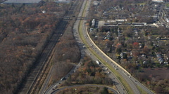 Aerial view of Highway 95 headed towards Philadelphia, PA. Shot in 2011. Stock Footage