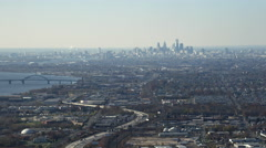 Aerial view of  Highway 95, approaching Philadelphia, Pennsylvania. Shot in Stock Footage