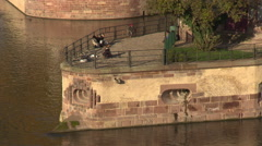 Scenic place in Strasbourg on river embankement Stock Footage