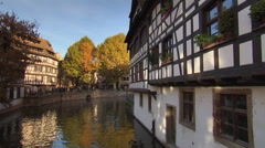 Scenic medieval house in Strasbourg by the channel Stock Footage