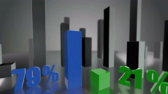 Comparing 3D blue and green bars diagram growing up to 79% and 21% - stock footage