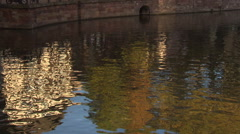 Medieval center of Strasbourg with water reflections of channel (tilt shot) Stock Footage