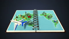 Opened passport, travel world tour concept 1 (included alpha) Stock Footage