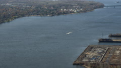 Aerial view of the Delaware River at the Tacony Palmyra Bridge between Stock Footage