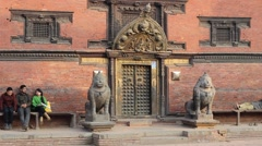 One of the entrances to the building of Patan Museum Stock Footage