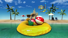 Enjoy holiday vacation in tropical beach concept(included alpha) Stock Footage