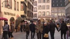 Street scene in center of Strasbourg with pedestrian zone Stock Footage