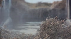 Steam over the ice-hole on the Epiphany in Russia Stock Footage