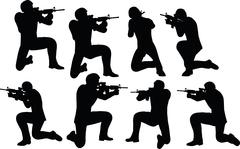 Businessman soldier shoot Stock Illustration