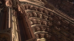 Portal decoration of Strasbourg Cathedral (pan shot) Stock Footage