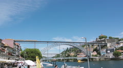 Dom Luis bridge and Porto view on  warm day Stock Footage