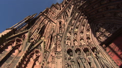 Strasbourg Cathedral portal of breathtaking stonemason art (pan shot) Stock Footage