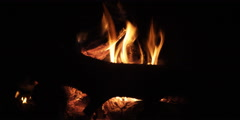 Close view of a glowing wood fire Stock Footage