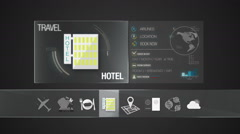 Hotel icon for travel contents.Digital display application.(included Alpha) Stock Footage