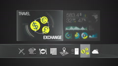 Exchange icon for travel contents.Digital display application.(included Alpha) - stock footage