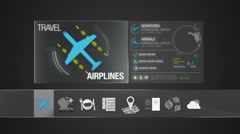 Airlines icon for travel contents.Digital display application.(included Alpha) Stock Footage