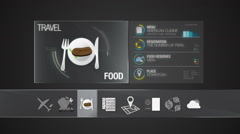 Food icon for travel contents.Digital display application.(included Alpha) - stock footage