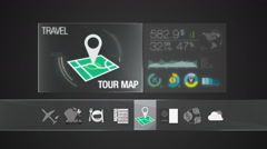 Tour map icon for travel contents.Digital display application.(included Alpha) - stock footage