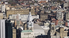 Orbiting aerial view of Philadelphia City Hall Tower. Shot in 2011. Stock Footage