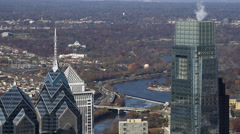 Orbiting aerial view of downtown Philadelphia. Shot in 2011. Stock Footage