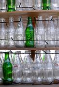 Empty bottles of Coca-Cola and Sprite Stock Photos