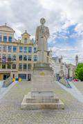 BRUSSELS, BELGIUM - 11 AUGUST, 2015: Famous Queen Elisabeth statue located at Stock Photos