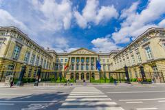 BRUSSELS, BELGIUM - 11 AUGUST, 2015: Palace of the Nation parliament building Stock Photos