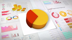30 percent Pie chart with various economic finances graph.(no text) - stock footage