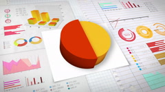 50 percent Pie chart with various economic finances graph.(no text) - stock footage