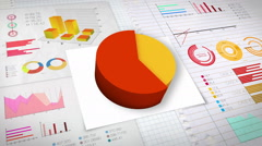 60 percent Pie chart with various economic finances graph.(no text) - stock footage